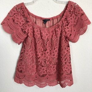 Haute Mode Lace Off The Shoulder Top  NWT
